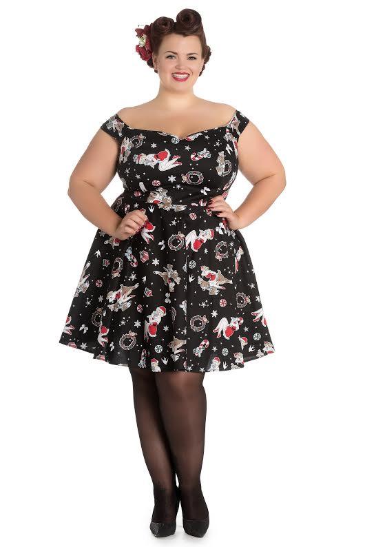 e703d29757b Blitzen Holiday 50 s Plus Size Dress by Hell Bunny - Black - SALE