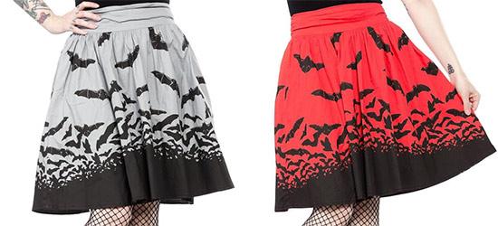 Spooksville Bats Swing Skirt by Sourpuss