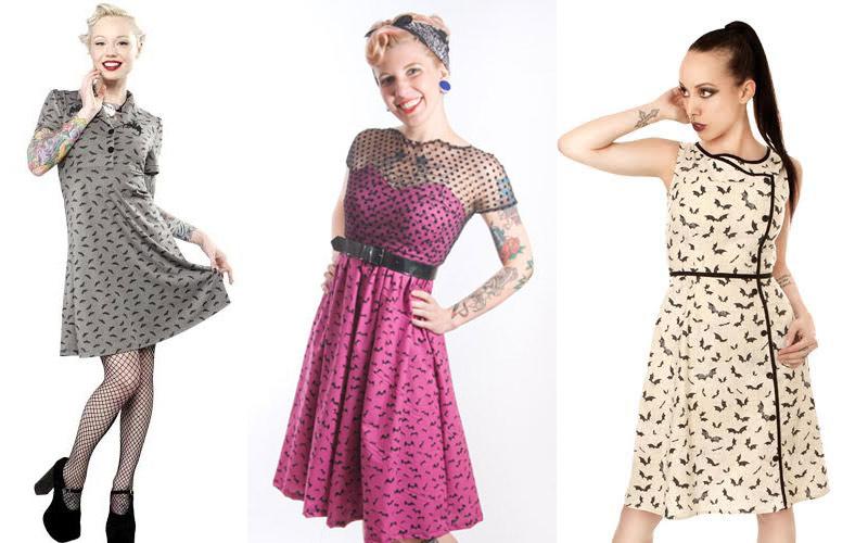 Retro bat Print Dresses