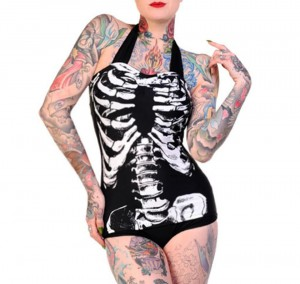Skeleton Bones One Piece Swimsuit by Banned Clothing