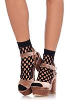 Oval Net Anklet Socks  - in black