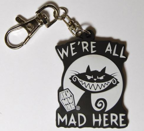 We're All Mad Here Cat Keychain / Purse Dangle by Akumu Ink