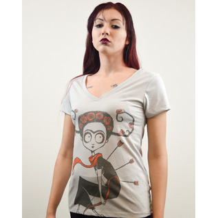 The Wounded - Clumsy Archer girls Off White V Neck shirt by Akumu Ink