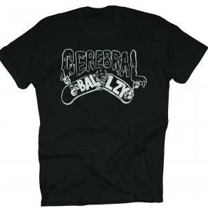Cerebral Ballzy- Broken Board on a black shirt
