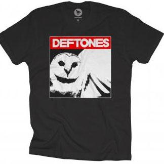 Deftones- Owl on a black ringspun cotton shirt