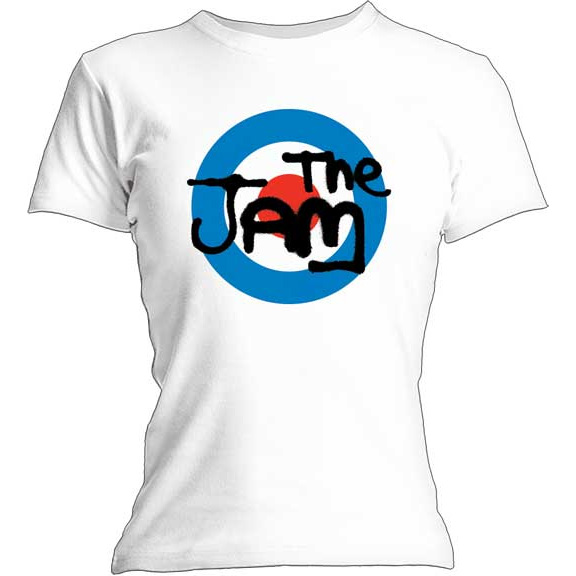 Jam- Mod Logo on a white girls fitted shirt
