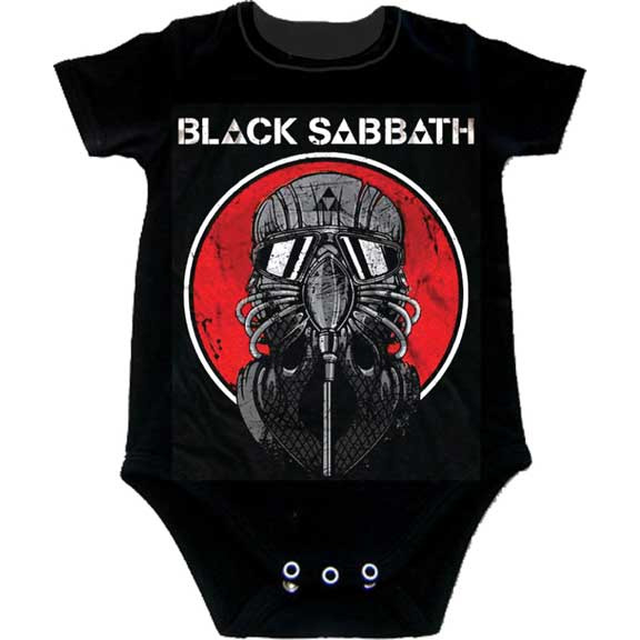 Black Sabbath- Mask on a black onesie