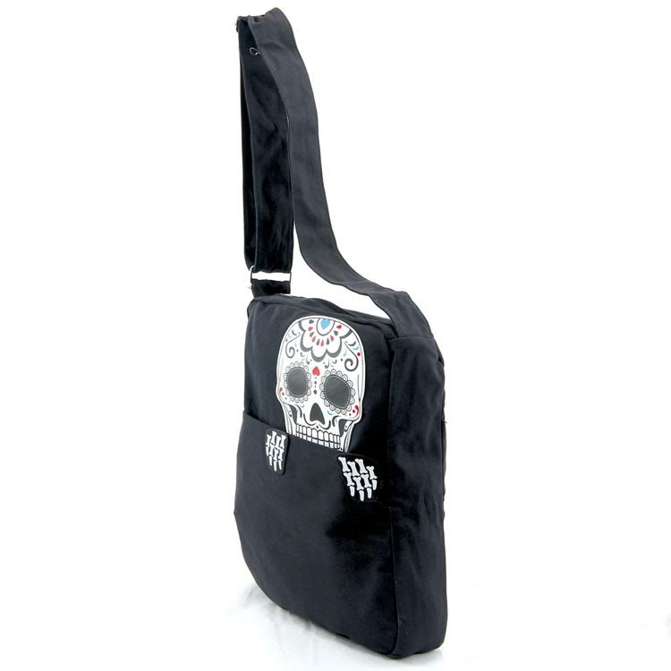 Sleepyville Sugar Skull Peeking Canvas Messenger Bag - SALE