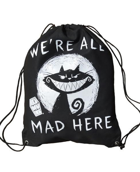 We're All Mad Drawstring Sling Bag by Akumu Ink - SALE
