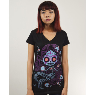 La Sierna girls Black V Neck Skele Mermaid shirt by Akumu Ink