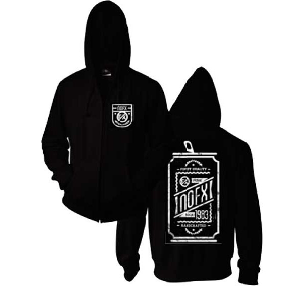 NOFX- Logo on front, Beer Can on back on a black zip up hooded sweatshirt
