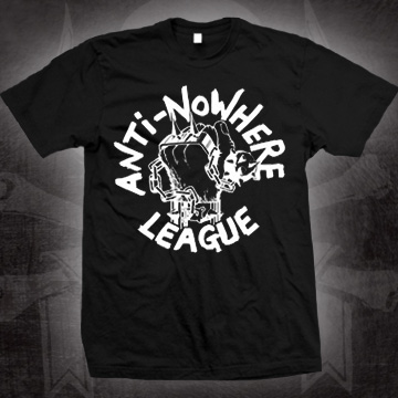 Anti Nowhere League- Spiked Fist on a black shirt (Sale price!)
