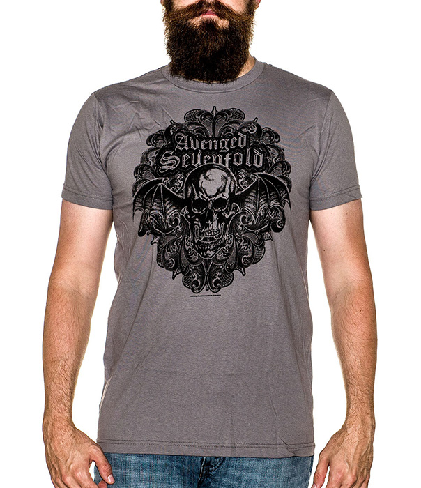 Avenged Sevenfold- Deathbat on an asphalt ringspun cotton shirt (Sale price!)