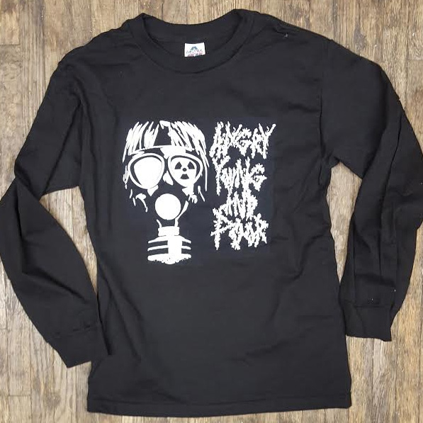 Angry Young And Poor- Gas Mask on a black LONG SLEEVE shirt