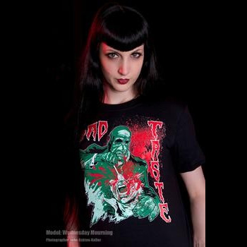 Bad Taste- Dig In on a black girls fitted shirt