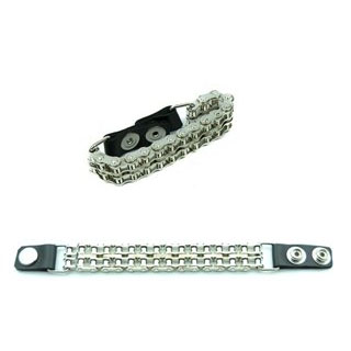Double Bike Chain With Leather Snaps Bracelet by Funk Plus