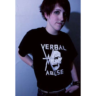 Verbal Abuse- Face And Logo on a black YOUTH sized  shirt