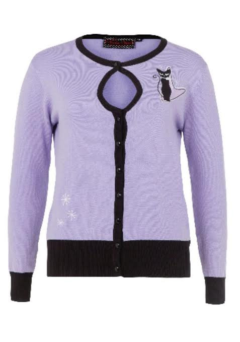 Isabella Retro 50's Atomic Kitties Cardigan by Voodoo Vixen/Living Dead Souls - purple - SALE sz S & 3X only