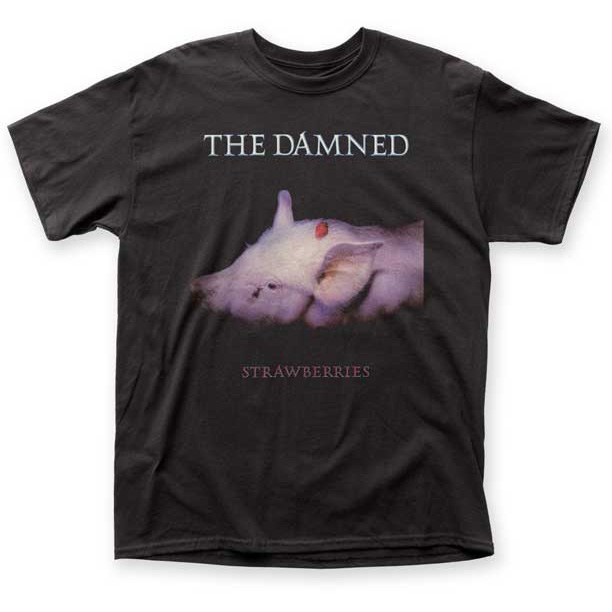 Damned- Strawberries on a black shirt