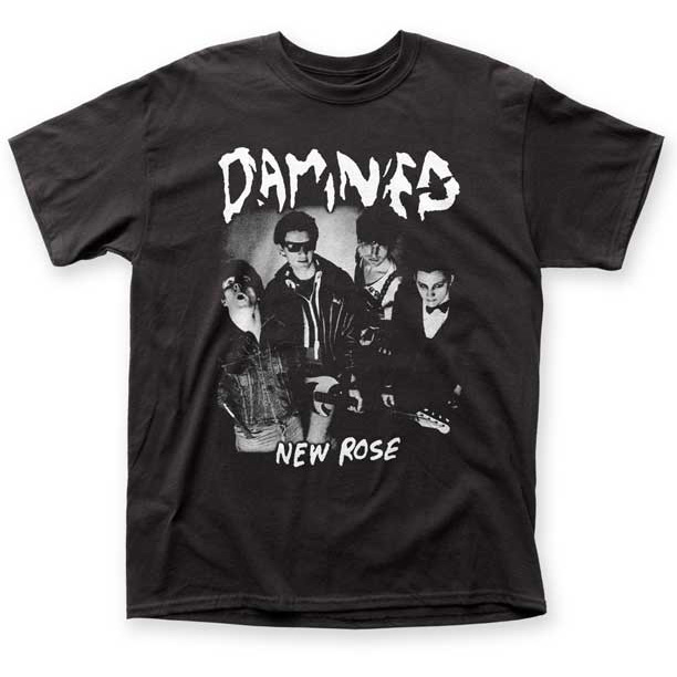 Damned- New Rose on a black shirt (Sale price!)