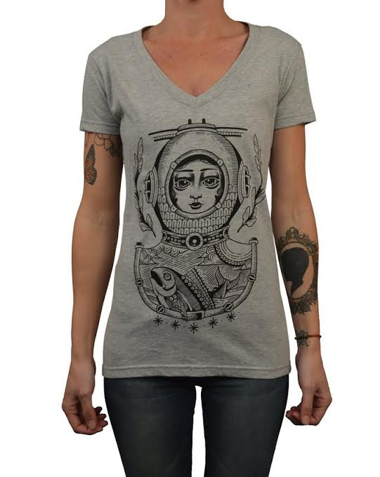 Diver Doll V Neck Girls fitted shirt by Black Market  Art Company & artist Ginger - SALE sz S only