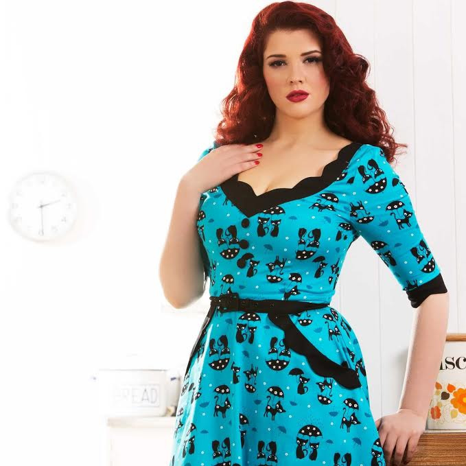 Katnis - Cats in the Rain Flare Plus Size Dress by Voodoo Vixen - in Blue