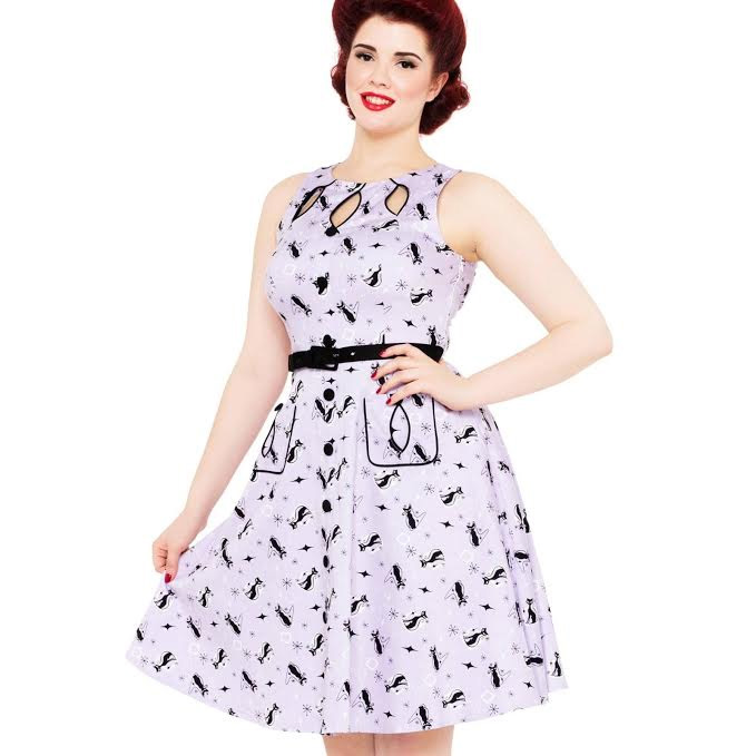 Retro Kitty Flare Dress with Cut Out Detail by VooDoo Vixen - in Purple - SALE sz  M only