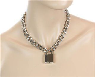 Lock & Chain Necklace by Funk Plus (Various Color Locks)