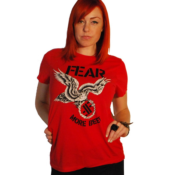 Fear- More Beer on a red girls fitted shirt