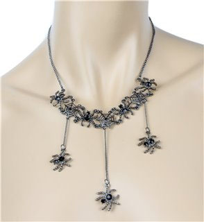 Hanging Spiders Necklace & Earrings by Funk Plus