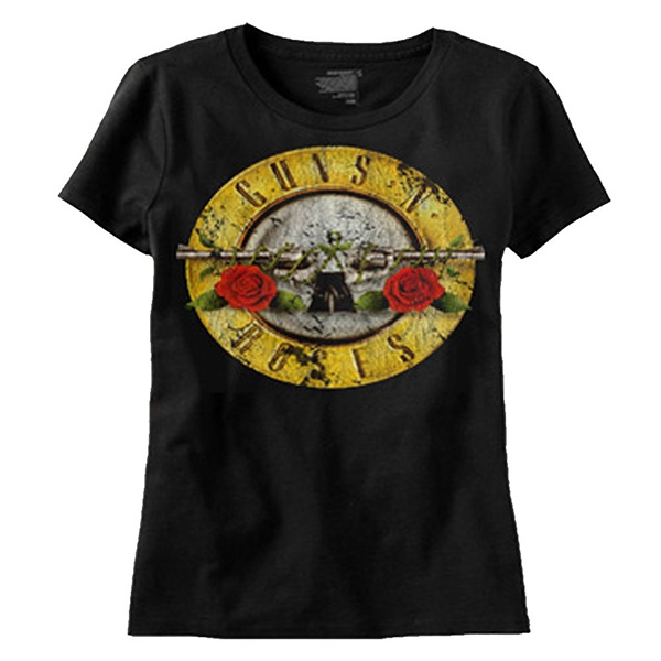 Guns N Roses- Distressed Bullet on a black ringspun cotton shirt