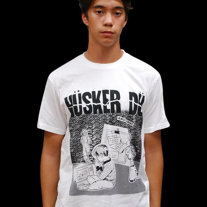 Husker Du- Amusement on a white ringspun cotton shirt