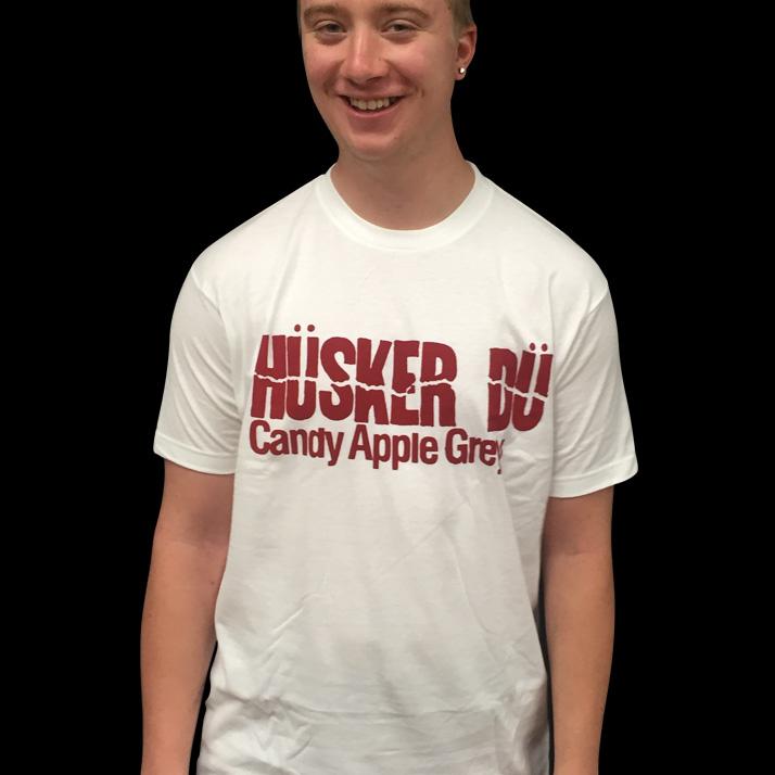 Husker Du- Candy Apple Grey on a white ringspun cotton shirt