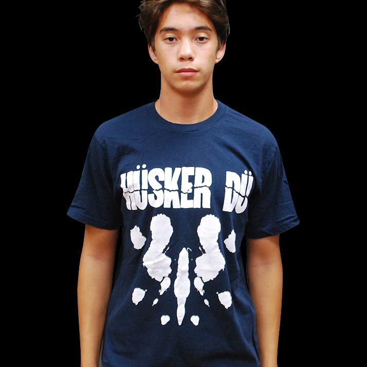 Husker Du- Everything Falls Apart on a navy ringspun cotton shirt
