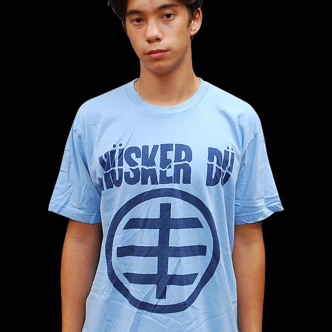 Husker Du- Symbol on a light blue ringspun cotton shirt