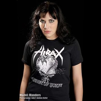 Hirax- Barrage Of Noise on front, Logo on back on a black YOUTH sized shirt