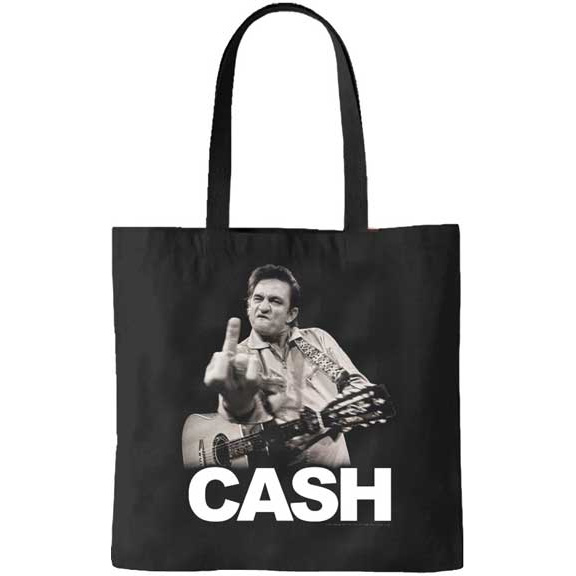 Johnny Cash- Finger on a black tote bag