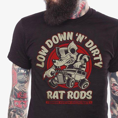 Kustom Kreeps Dirty Rat on a black guys slim fit shirt by Sourpuss - SALE