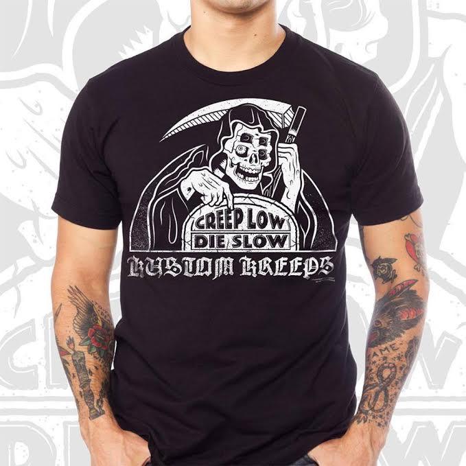 Kustom Kreeps Creep Low Reaper on a black guys slim fit shirt by Sourpuss - SALE 2X only