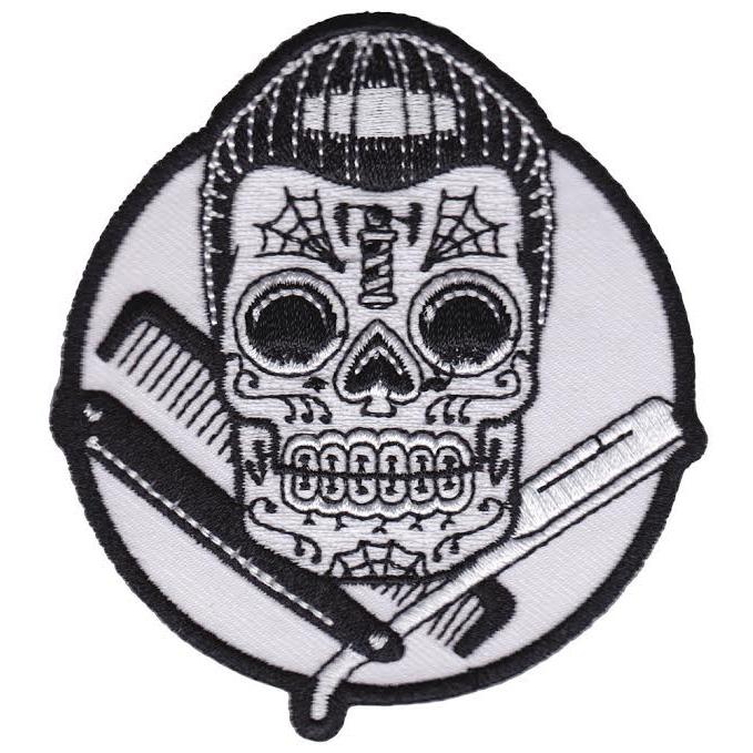Kustom Kreeps Dapper Barber Skull Embroidered Patch  - from Sourpuss (EP585)
