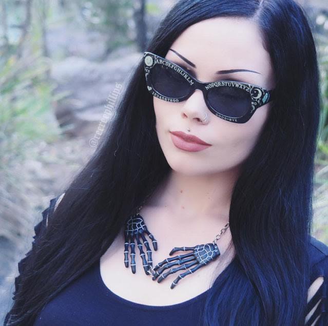 Glow in the Dark Fright Board Ouija Sunglasses by Lindsay Lowe Eye Wear - handpainted - SALE
