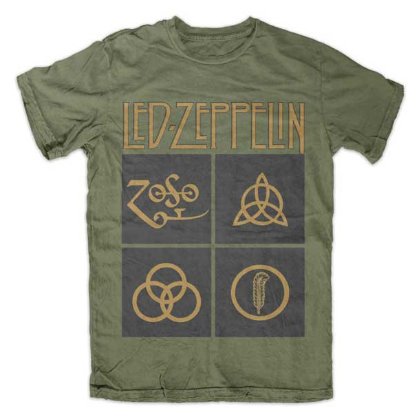 Led Zeppelin- Symbols on an army green shirt