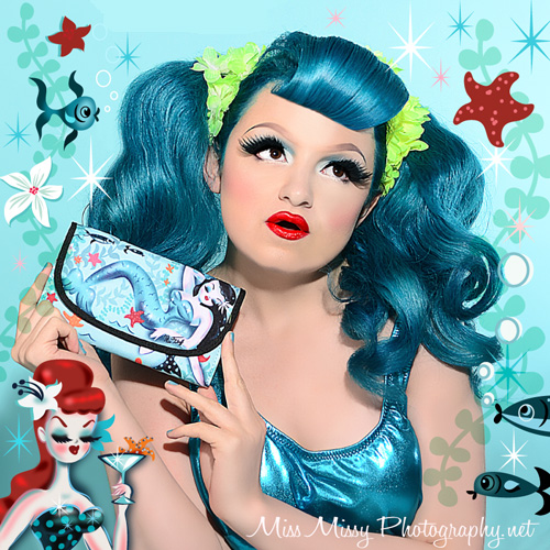 Martini Mermaid Girl Pinup Wallet  by Fluff