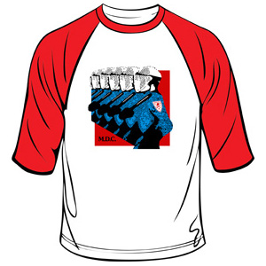 MDC- Riot Cops on a white/red 3/4 sleeve shirt