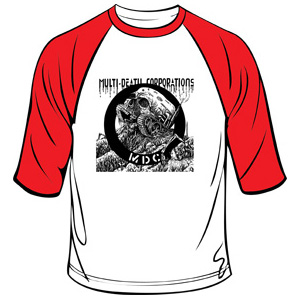 MDC- Multi Death Corporations on a white/red 3/4 sleeve shirt