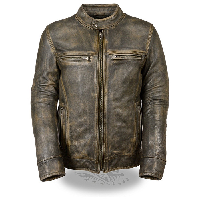 Distressed Brown Leather Scooter Jacket by Milwaukee Leather