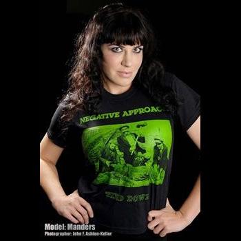 Negative Approach- Tied Down (Green Print) on a black shirt