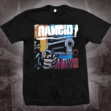 Rancid- First Album Cover (Gun) on a black shirt (Sale price!)