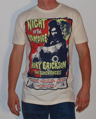 Roky Erickson- Night Of The Vampire on a natural ringspun cotton shirt (Sale price!)