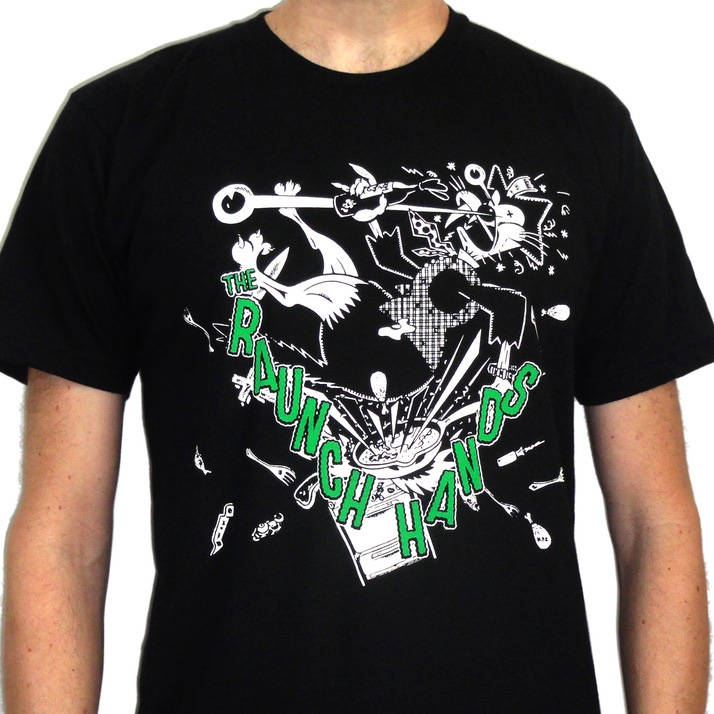 Raunch Hands- Cat on a black ringspun cotton shirt (Sale price!)